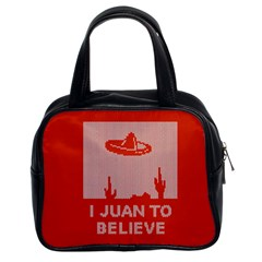 I Juan To Believe Ugly Holiday Christmas Red Background Classic Handbags (2 Sides)