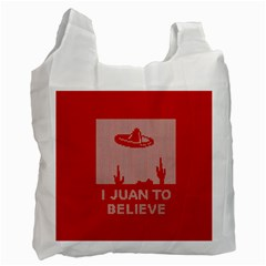 I Juan To Believe Ugly Holiday Christmas Red Background Recycle Bag (Two Side)