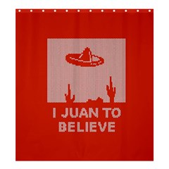 I Juan To Believe Ugly Holiday Christmas Red Background Shower Curtain 66  x 72  (Large)