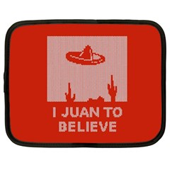 I Juan To Believe Ugly Holiday Christmas Red Background Netbook Case (XL)