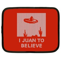 I Juan To Believe Ugly Holiday Christmas Red Background Netbook Case (XXL)