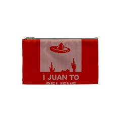 I Juan To Believe Ugly Holiday Christmas Red Background Cosmetic Bag (Small)