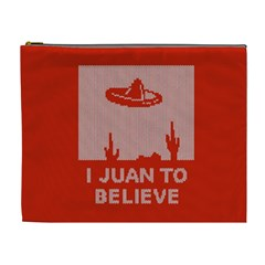 I Juan To Believe Ugly Holiday Christmas Red Background Cosmetic Bag (XL)