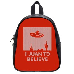 I Juan To Believe Ugly Holiday Christmas Red Background School Bags (small)