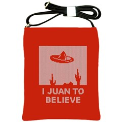 I Juan To Believe Ugly Holiday Christmas Red Background Shoulder Sling Bags