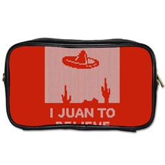 I Juan To Believe Ugly Holiday Christmas Red Background Toiletries Bags