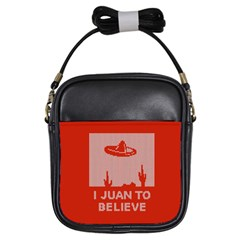 I Juan To Believe Ugly Holiday Christmas Red Background Girls Sling Bags