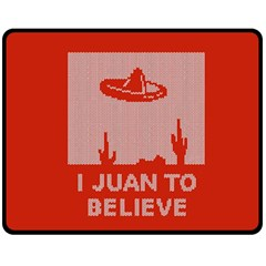 I Juan To Believe Ugly Holiday Christmas Red Background Fleece Blanket (Medium)