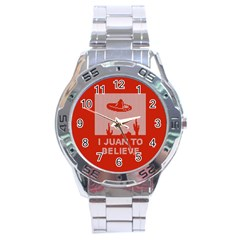 I Juan To Believe Ugly Holiday Christmas Red Background Stainless Steel Analogue Watch