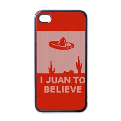 I Juan To Believe Ugly Holiday Christmas Red Background Apple iPhone 4 Case (Black)