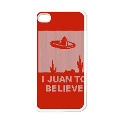 I Juan To Believe Ugly Holiday Christmas Red Background Apple iPhone 4 Case (White)