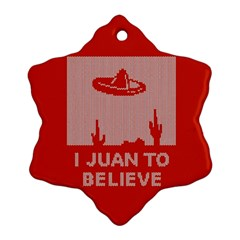 I Juan To Believe Ugly Holiday Christmas Red Background Snowflake Ornament (2-Side)
