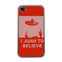I Juan To Believe Ugly Holiday Christmas Red Background Apple iPhone 4 Case (Clear)