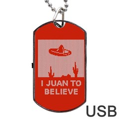 I Juan To Believe Ugly Holiday Christmas Red Background Dog Tag USB Flash (One Side)