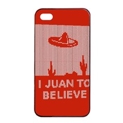 I Juan To Believe Ugly Holiday Christmas Red Background Apple iPhone 4/4s Seamless Case (Black)