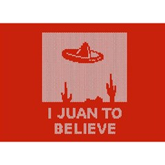I Juan To Believe Ugly Holiday Christmas Red Background Birthday Cake 3D Greeting Card (7x5)