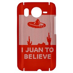 I Juan To Believe Ugly Holiday Christmas Red Background HTC Desire HD Hardshell Case