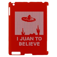 I Juan To Believe Ugly Holiday Christmas Red Background Apple iPad 2 Hardshell Case (Compatible with Smart Cover)