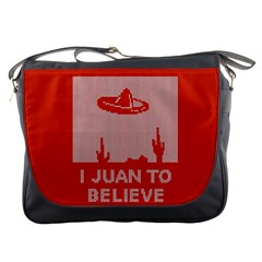I Juan To Believe Ugly Holiday Christmas Red Background Messenger Bags