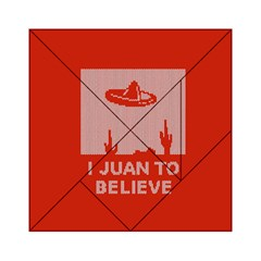 I Juan To Believe Ugly Holiday Christmas Red Background Acrylic Tangram Puzzle (6  x 6 )