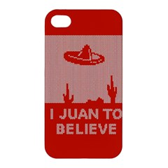 I Juan To Believe Ugly Holiday Christmas Red Background Apple iPhone 4/4S Premium Hardshell Case