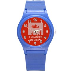 I Juan To Believe Ugly Holiday Christmas Red Background Round Plastic Sport Watch (S)