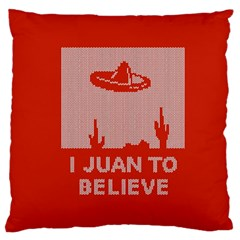 I Juan To Believe Ugly Holiday Christmas Red Background Large Cushion Case (Two Sides)