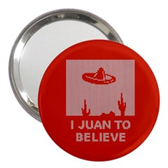 I Juan To Believe Ugly Holiday Christmas Red Background 3  Handbag Mirrors