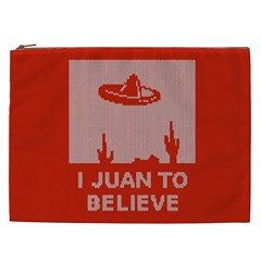 I Juan To Believe Ugly Holiday Christmas Red Background Cosmetic Bag (XXL)