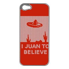 I Juan To Believe Ugly Holiday Christmas Red Background Apple iPhone 5 Case (Silver)