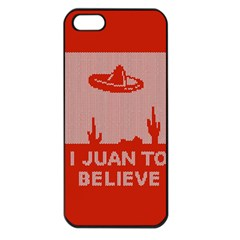 I Juan To Believe Ugly Holiday Christmas Red Background Apple iPhone 5 Seamless Case (Black)