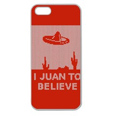 I Juan To Believe Ugly Holiday Christmas Red Background Apple Seamless iPhone 5 Case (Clear)