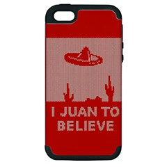I Juan To Believe Ugly Holiday Christmas Red Background Apple iPhone 5 Hardshell Case (PC+Silicone)