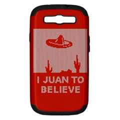 I Juan To Believe Ugly Holiday Christmas Red Background Samsung Galaxy S III Hardshell Case (PC+Silicone)