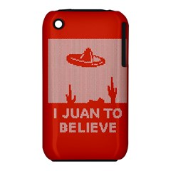 I Juan To Believe Ugly Holiday Christmas Red Background Apple iPhone 3G/3GS Hardshell Case (PC+Silicone)