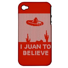 I Juan To Believe Ugly Holiday Christmas Red Background Apple iPhone 4/4S Hardshell Case (PC+Silicone)