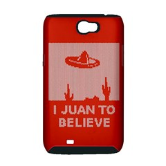 I Juan To Believe Ugly Holiday Christmas Red Background Samsung Galaxy Note 2 Hardshell Case (PC+Silicone)