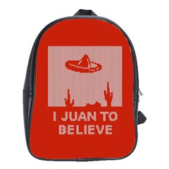 I Juan To Believe Ugly Holiday Christmas Red Background School Bags (XL)
