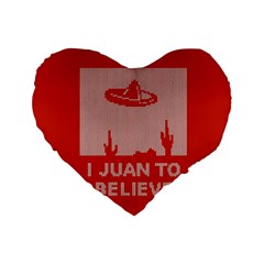 I Juan To Believe Ugly Holiday Christmas Red Background Standard 16  Premium Heart Shape Cushions
