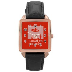 I Juan To Believe Ugly Holiday Christmas Red Background Rose Gold Leather Watch