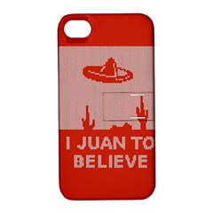 I Juan To Believe Ugly Holiday Christmas Red Background Apple iPhone 4/4S Hardshell Case with Stand