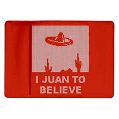 I Juan To Believe Ugly Holiday Christmas Red Background Samsung Galaxy Tab 10.1  P7500 Flip Case