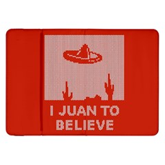I Juan To Believe Ugly Holiday Christmas Red Background Samsung Galaxy Tab 8.9  P7300 Flip Case