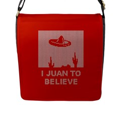 I Juan To Believe Ugly Holiday Christmas Red Background Flap Messenger Bag (L)