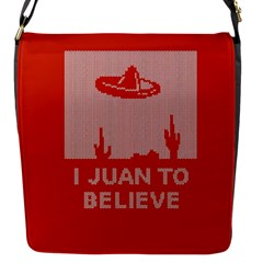 I Juan To Believe Ugly Holiday Christmas Red Background Flap Messenger Bag (S)