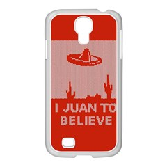 I Juan To Believe Ugly Holiday Christmas Red Background Samsung GALAXY S4 I9500/ I9505 Case (White)