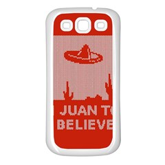 I Juan To Believe Ugly Holiday Christmas Red Background Samsung Galaxy S3 Back Case (white)