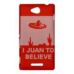 I Juan To Believe Ugly Holiday Christmas Red Background Sony Xperia C (S39H)