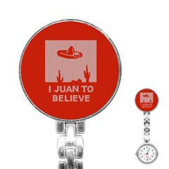 I Juan To Believe Ugly Holiday Christmas Red Background Stainless Steel Nurses Watch