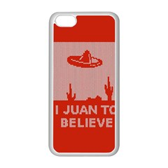 I Juan To Believe Ugly Holiday Christmas Red Background Apple iPhone 5C Seamless Case (White)